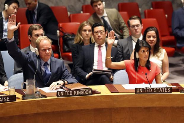 US ambassador to the UN Nikki Haley votes during a Security Council meeting on a new sanctions resolution on North Korea on 5 August