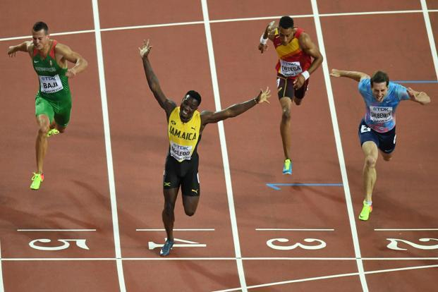Jamaica's Omar Mcleod wins the 110-metre hurdles ahead of Authorised Neutral Athlete Sergey Shubenkov and Hungary's Balázs Baji. Photo: AFP