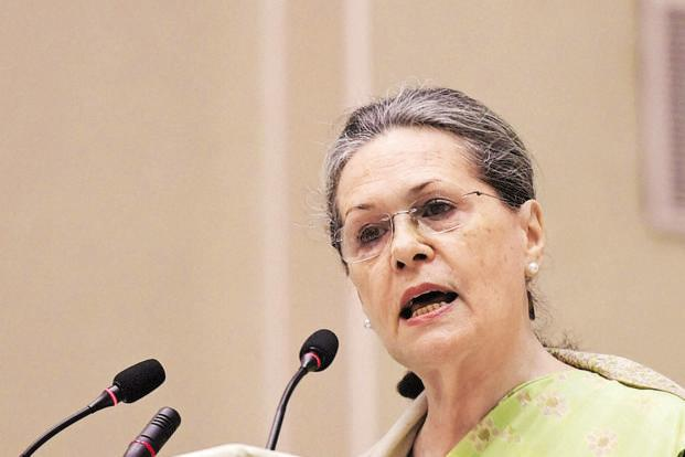 Congress president Sonia Gandhi underlined the contributions of the Congress and Jawaharlal Nehru to the landmark episode in India's struggle for independence in her Lok Sabha speech today. Photo: PTI