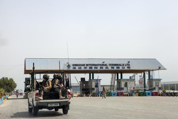 A file photo. Members of the security forces arrive at Gwadar Port in Gwadar, which is the cornerstone of One Belt, One Road project to rebuild the ancient Silk Road.  Photo: Bloomberg