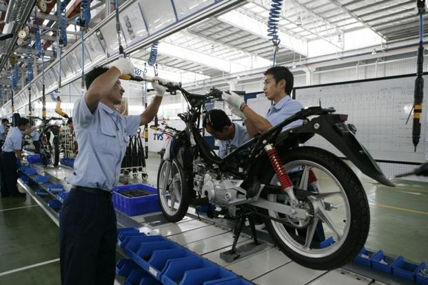 TVS Motor's total two-wheeler sales, which included exports, rose by 12% to 785,000 vehicles. Photo: Bloomberg
