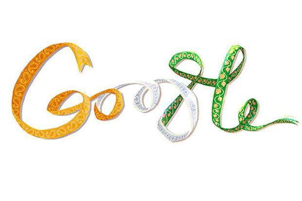 The intricate design patterns on the ribbon make this the perfect Google logo with a touch of India.