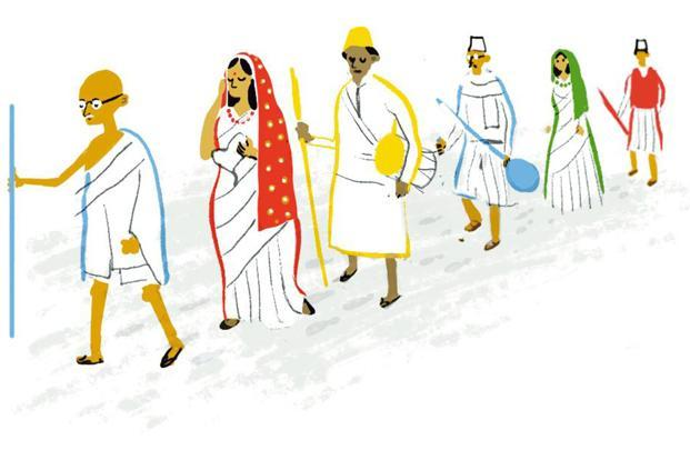 One of the most distinct doodles depicts the Dandi March led by Mahatma Gandhi in 1930.