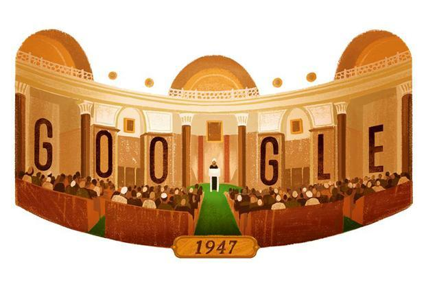 "This doodle depicts Jawaharlal Nehru's historic ""Tryst with destiny"" speech in the constituent assembly."