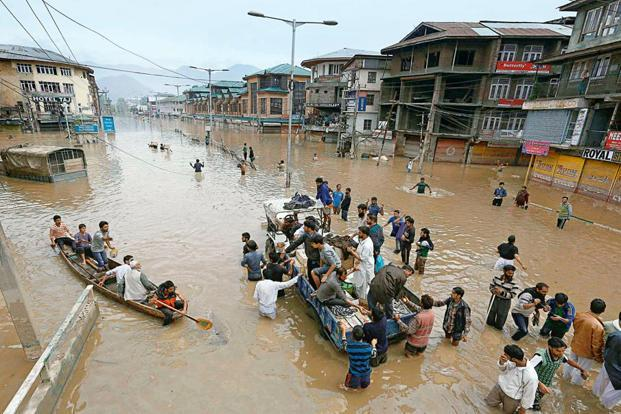 The Economic Survey said low insurance penetration in India was evident from data on recent calamities, a case in point being the 2014 Kashmir floods. Photo: Reuters