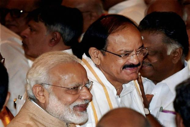 Prime Minister Narendra Modi and Venkaiah Naidu at the latter's oath ceremony as India's vice president in the Durbar Hall of Rashtrapati Bhawan in New Delhi on Friday. Photo: PTI