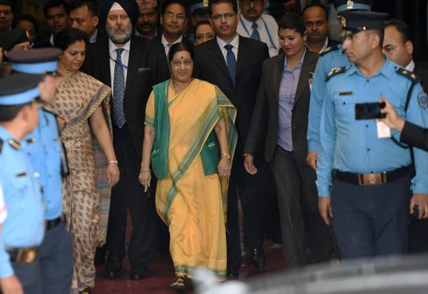 External affairs minister Sushma Swaraj in Kathmandu on Thursday. Photo: AFP