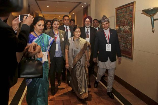 India's plans were outlined by foreign minister Sushma Swaraj at a meeting of the Bay of Bengal Initiative for Multi-Sectoral Technical and Economic Cooperation, better known by its acronym BIMSTEC during the one-day meet hosted by Kathmandu. Photo: PTI