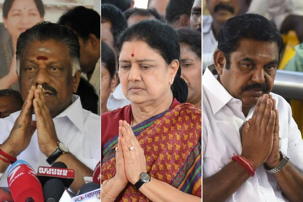 (From left) Former Tamil Nadu chief minister O. Panneerselvam, former AIADMK general secretary Sasikala Natarajan and current chief minister Edappadi Palaniswami. Photo: PTI