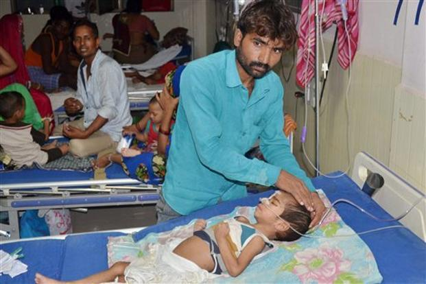 An inside view of a ward of BRD Medical College in Gorakhpur where several children have died since the past two days due to alleged paucity of oxygen. Photo: PTI