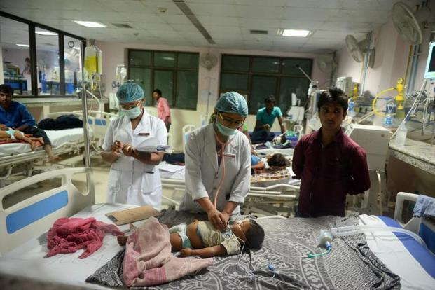 Gorakhpur District Magistrate Rajeev Rautela had said that at least 30 children died in the state-run medical college within 48 hours since 10 August. Photo: AFP