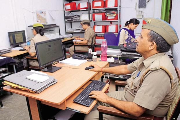 A cyber cell at a police station in Ghaziabad. Authorities had blocked 652 URLs until June 2017. Photo: HT