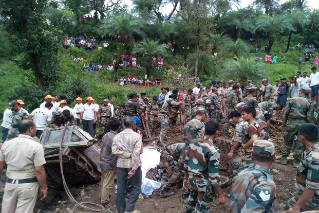 Indian army soldiers conducting rescue operations at the site of the landslide in Himachal Pradesh on Sunday. Photo: AFP