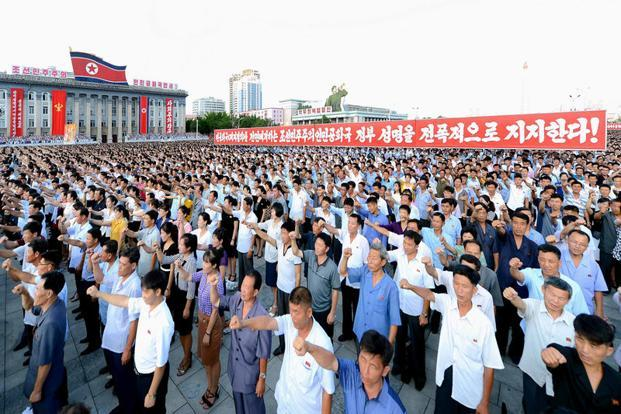 A mass rally held in Pyongyang to support the government. Photo: KCNA/via Reuters
