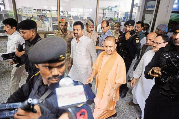 Uttar Pradesh CM Yogi Adityanath at the BRD Medical College and Hospital in Gorakhpur, which has seen 33 children deaths in the past two days. Photo: AFP