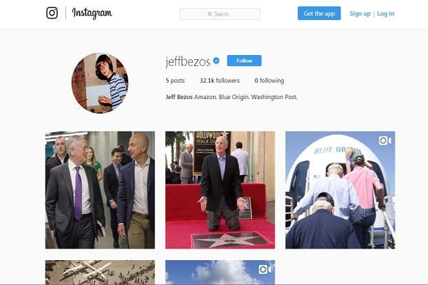 Jeff Bezos joined Instagram on 20 July.