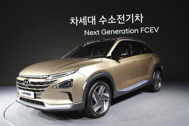 Hyundai Motors New Hydrogen Fuel Cell Vehicle Is Displayed During A Media Preview In Seoul