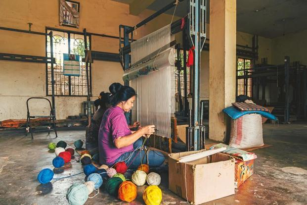 Women working on 'khaden' in Bylakuppe, Karnataka. Courtesy Krish Bhalla
