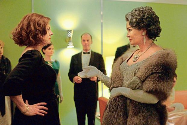 Susan Sarandon as Bette Davis and (right) Jessica Lange as Joan Crawford in the TV series 'Feud'.