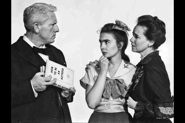 (from left) Spencer Tracy, Jean Simmons (as Ruth Gordon) and Teresa Wright in 'The Actress'.