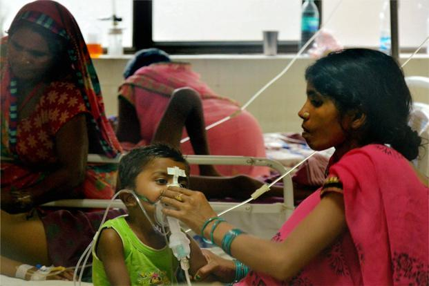 A file photo of children receiving treatment in the Encephalitis Ward at the BRD Medical College Hospital in Gorakhpur where over 60 children have died. Photo: PTI
