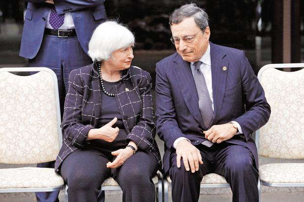 US Federal Reserve chair Janet Yellen with European Central Bank (ECB) president Mario Draghi. Photo: Bloomberg
