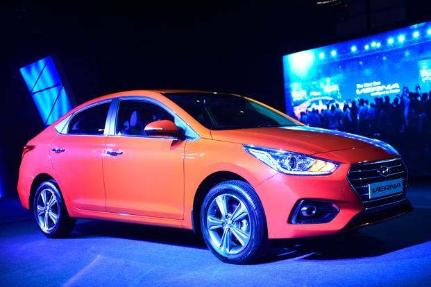 The new Hyundai Verna's features include a sunroof, rear curtains, six airbags, eco-coating for AC vents and rear parking sensors. Photo: Pradeep Gaur/Mint