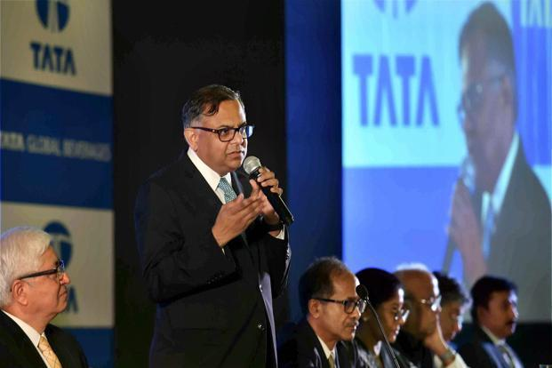 Tata Power chairman N. Chandrasekaran at the company's 98th annual general meeting (AGM) on Wednesday. Photo: PTI