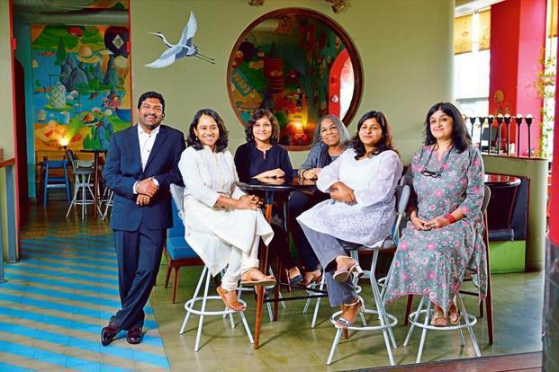 (From left) Ananth Padmanabhan, R. Sivapriya, Karthika V.K., Urvashi Butalia, Aditi Maheshwari Goyal, Neeta Gupta. Photo: Pradeep Gaur/Mint