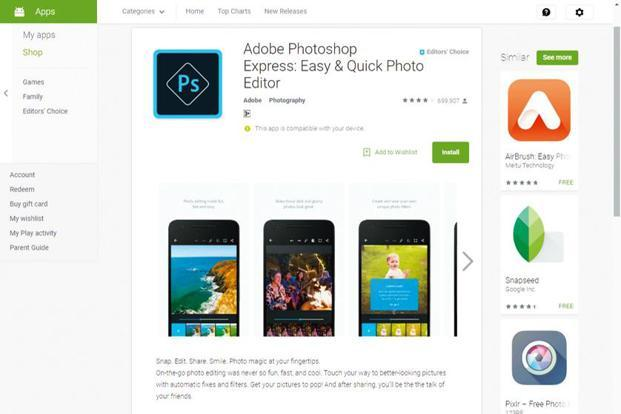 Adobe Photoshop Express is for those who want to experiment with their pictures on the go.
