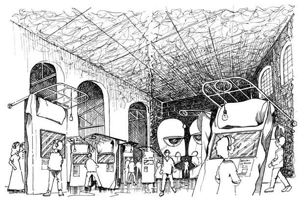 A sketch of the exhibition, 'Pink Floyd: Their Mortal Remains'.