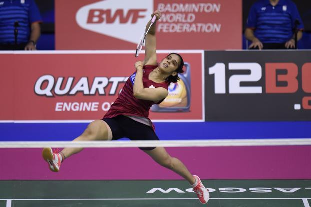 Saina Nehwal defeated local favourite Kristy Gilmour 21-19, 18-21, 21-15 to reach the semi-finals of the World Badminton Championships in Glasgow. Photo: AFP