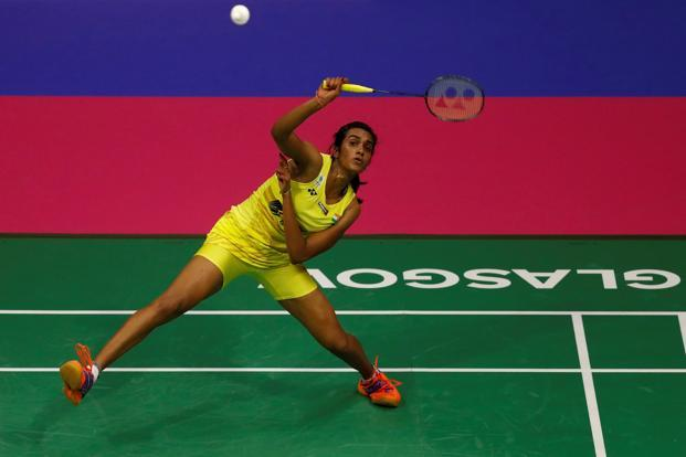 India's P.V. Sindhu during her World Badminton Championships final match against Japan's Nozomi Okuhara on Sunday. Photo: Reuters
