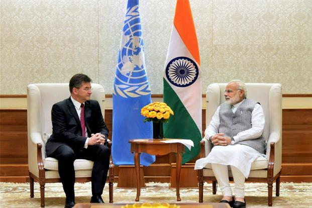 Miroslav Lajcak, United Nations General Assembly president-elect with Prime Minister Narendra Modi. Photo: PTI