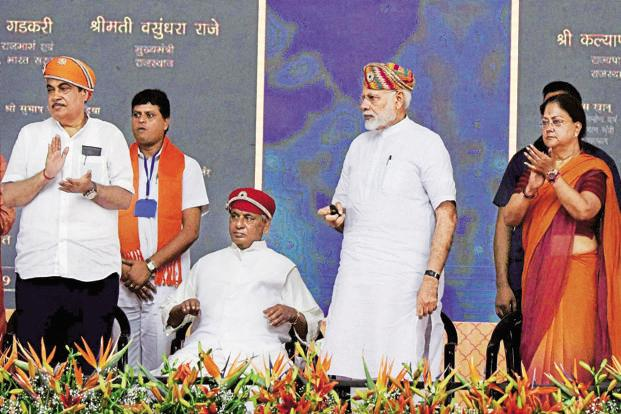 PM Narendra Modi with Union transport minister Nitin Gadkari (left) and Rajasthan CM Vasundhara Raje (right) during the inauguration function in Udaipur on Tuesday. Photo: PTI