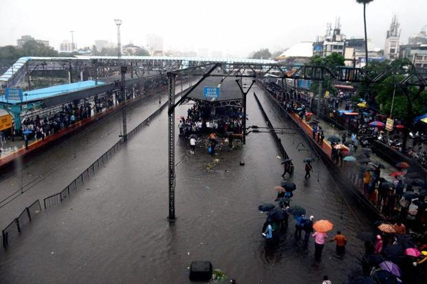 The flooded Thane railway station on Tuesday. PTI
