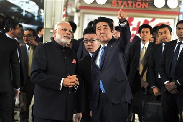 Japanese Prime Minister Shinzo Abe and Narendra Modi will attend the groundbreaking ceremony on 14 September. Photo: PTI