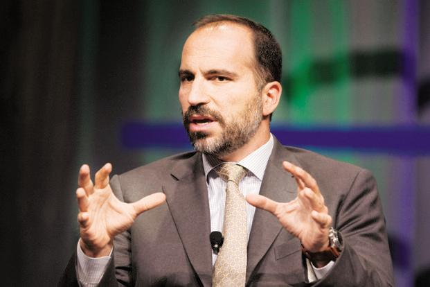 New Uber CEO Dara Khosrowshahi introduced himself to Uber's workforce on Wednesday during an all-staff meeting at its San Francisco headquarters.. Photo: Bloomberg