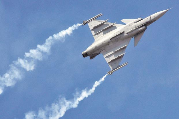 A file photo of a Saab Gripen fighter plane during the Aero India show at the Yelahanka Air Force Station in Bengaluru in February 2017. Photo: Reuters