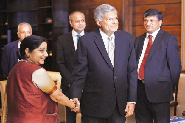 External affairs minister Sushma Swaraj with Sri Lankan Prime Minister Ranil Wickremesinghe (centre) in Colombo on Thursday. Photo: AFP