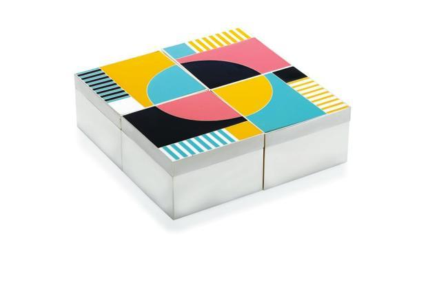RETRO: Pop colours enamelled on box lids and beautiful shades of stones...looks retro, brightens up the living space, and is a conversation starter.