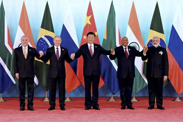 State leaders of Brazil, Russia, India, China and South Africa during the BRICS Summit 2017 in Xiamen, China, on Monday. Photo: AFP