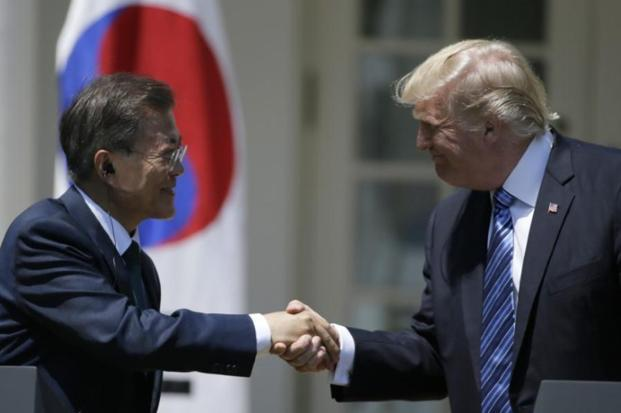 A file photo of US President Donald Trump with South Korean President Moon Jae-in. Photo: Reuters