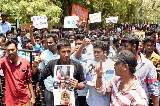 Members of the Student's Federation of India (SFI) protest against the Centre following the death of S. Anitha, in Madurai, Tamil Nadu, on Monday. Photo: PTI
