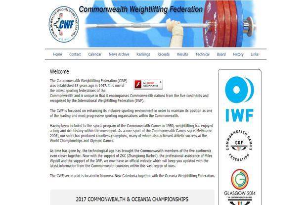 A screen grab of  Commonwealth Weightlifting Federation website
