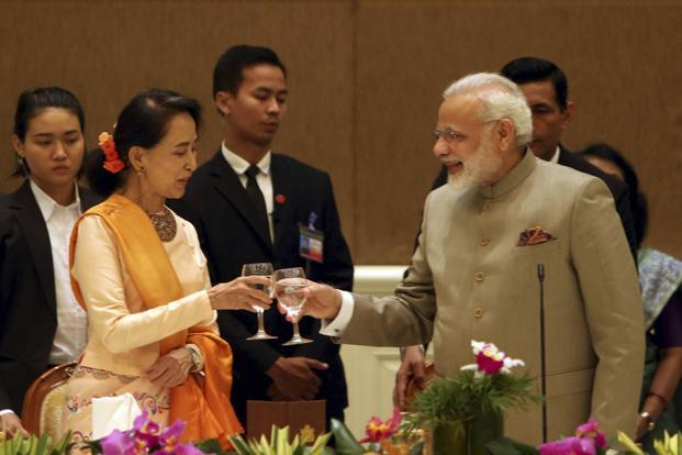 Prime Minister Narendra Modi on Wednesday met Myanmar's state counsellor Aung San Suu Kyi, and held discussions on wide-ranging topics, including violence in the Rakhine state. Photo: AP