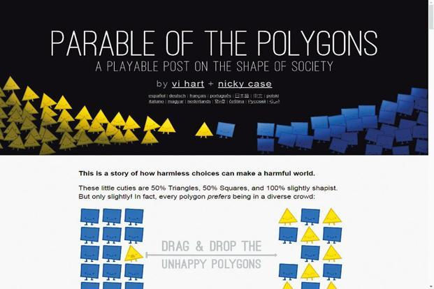 Vi Hart and Nicky Case's Parable of the Polygons is based on economist Thomas Schelling's idea of 'neighbourhood tipping' in which an influx of 'different' people into a largely homogeneous area 'causes the earlier residents to begin evacuating'.