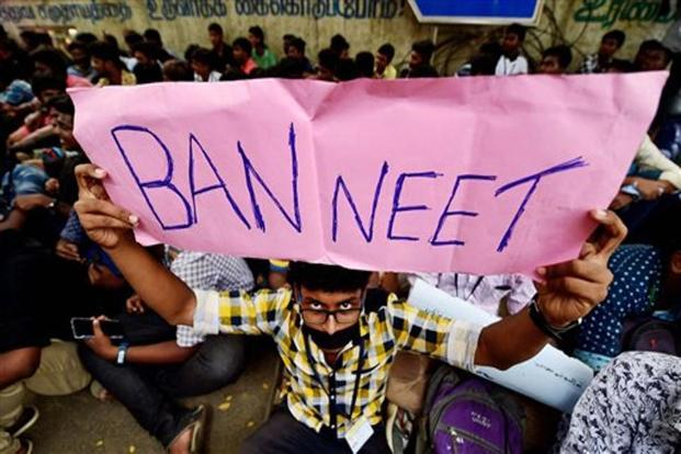 Loyola College students during their protest demanding justice for S. Anitha and urging the Central government to ban NEET, in Chennai on Wednesday. Photo: PTI