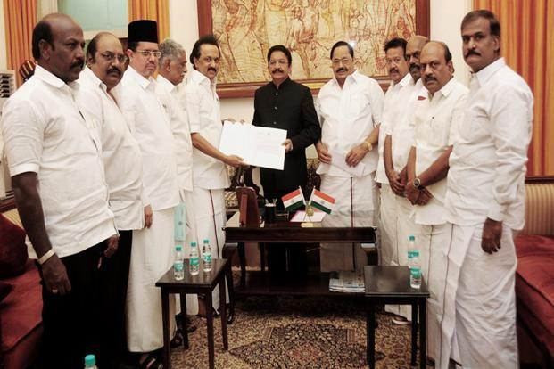 DMK working president M.K. Stalin along with other opposition leaders met Tamil Nadu governor C. Vidyasagar Rao at the Raj Bhavan in Chennai. Photo: PTI