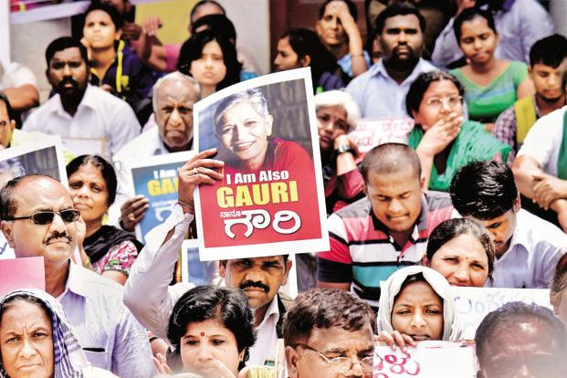A protest against journalist Gauri Lankesh's murder in Bengaluru on 6 September, a day after she was killed by unidentified persons. Photo: PTI